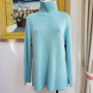 Eileen Fisher sz L aqua thick chunky wool Sweater